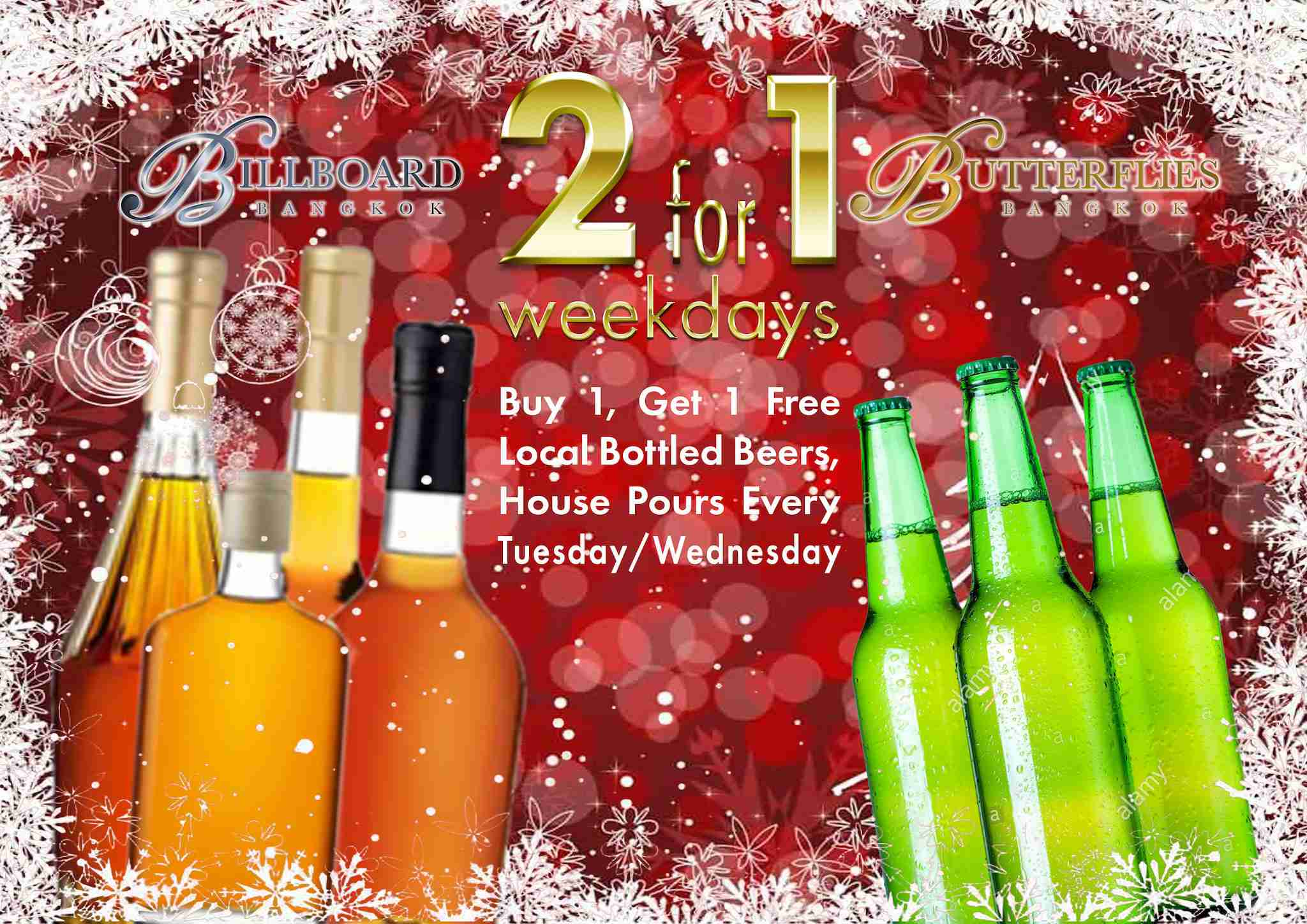 2-For-1 Midweek Drinks at Billboard, Butterflies in December